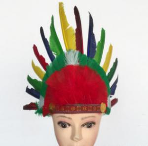 Indian Chief Headdress Costume & Black And Red Indian Chief
