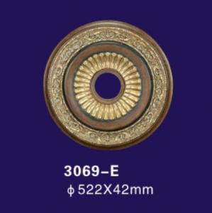 China Aeneous Color Polyurethane Ceiling Medallion Round Shape For House Ceiling on sale