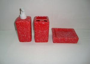 China Size Common Ceramic Bathroom Set Stoneware Marble Bathroom Accessories on sale
