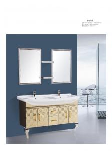 China Double Sinks Stainless Steel Bathroom Vanity Cabinet Mirrors Mosaic Framed on sale
