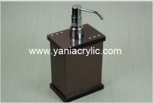 China Brown Rectangle Acrylic Soap Dispenser With Pump For Bathroom on sale