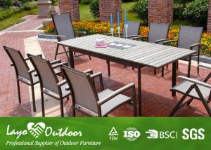Quality Aluminium Painting Faux Wood Patio Furniture Dining Sets Bar And Stools For
