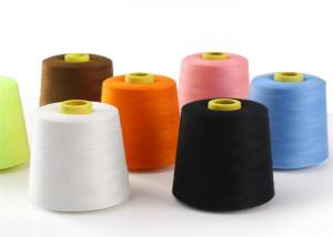 China Dyed Colorful 100% Spun Polyester Thread Yarn 30 / 2 For T Shirt Yarn / Dresses on sale