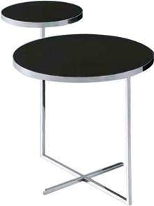 Quality Glass Metal Sofa Side Tables, Tempered Black Glass End Table , Round glass end table for sale