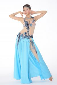 China Egyptian sexy belly dancing costumes blue color with 3D embroidery design on sale