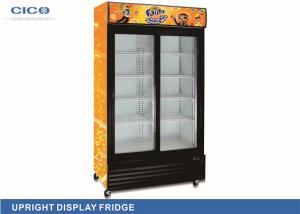 China Transparent Upright Display Refrigerator Two Vertical Lights No Vibration on sale