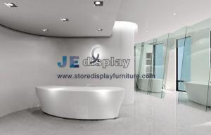 China Modern Office interior design by Bespoke Pure white Arc Millwork reception counter with Green glass screen on sale