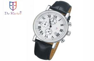 China Genuine leather strap stainless steel watch case waterproof Quartz Watches for male on sale