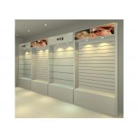 MDF Glossy White Wall Mounted Display Cabinets Freestanding With Light Box