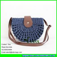 China LUDA navy blue semi round paper straw shoulder bag on sale