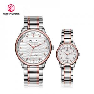 China 30M Waterproof Full Stainless Steel Watch ,Luxury Business Gift Watches For Couple on sale