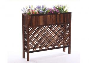 China Balcony Mesh Shape Wooden Flower Shelf , Colorful Wooden Plant Stand Antiseptic Wood Fence on sale