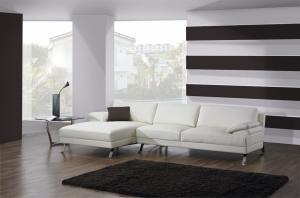 Quality Classic White Luxury Leather Sofa , Modern Italian corner  Leather Sofa Set for sale