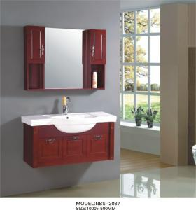 China Cherry wood bathroom vanity optional drains / Faucet , natural wood bathroom cabinets with painting on sale