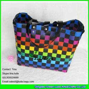 China LUDA tropical fruit color pp straw bag ladies shopping beach bag on sale