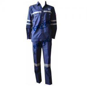 China Navy Blue Cotton Flame Retardant Suit For Welding Industry Anti Static on sale