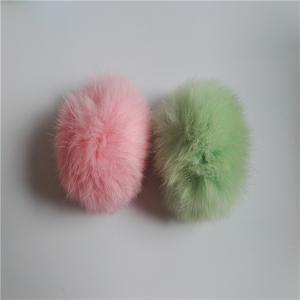 China Red plush rex rabbit fur ball keychain / animal pom pon / pom poms fur bag charm on sale