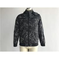 Black Mens Polyester Jacket Coated Printed With Detachable Hood TW58570