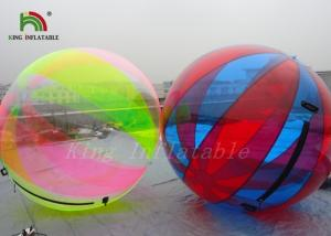 China Durable 1.0mm PVC Inflatable Water Ball Large Transparent Multicolored Strips on sale
