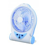 China Blue Rechargeable Battery Operated Table Fan , Portable Charging Fan on sale
