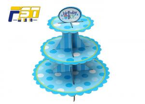 China Blue Round Cardboard Cake Display , Offset Printing Paper 3 Tier Cake Stand on sale