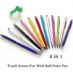 2 em 1 pena capacitiva do estilete da tabuleta/em pena ponto de bola/em pena tela táctil de Microfiber