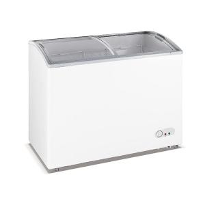 China 335L Commercial Ice Cream Chest With Top Open Sliding Curved Glass Door on sale