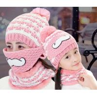 Winter hat with velvet knitted hat winter beard masks face helmet hat knitting cap ladies wool hat woolen yarn pink