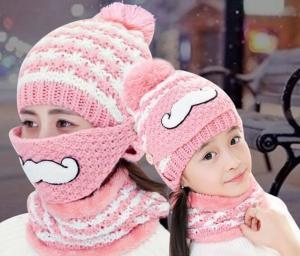 China Winter hat with velvet knitted hat winter beard masks face helmet hat knitting cap ladies wool hat woolen yarn pink on sale
