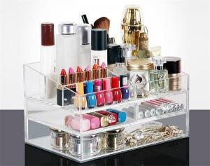 China Makeup Cosmetics Jewelry Organizer Clear Acrylic 3 Drawers Display Box Storage on sale