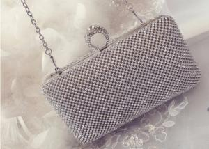 China Stunning Silver Mesh Clutch Purse Metal Rhinestone And Ring Closure on sale