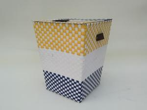 China 100% handwoven PP material  laundry storage basket with lid,coloful ,storage hamper, basket for hotel on sale