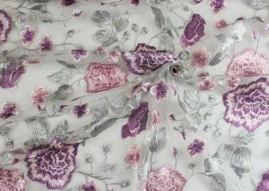 China Embroidery Multi Colored Lace Fabric Polyester On Nylon Mesh With Flower Design on sale