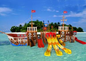 China Pirate Ship Water Playground Equipment / Indoor Commercial Playground Slides on sale