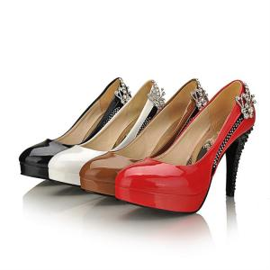 China pure color patent leather rhinestone high heel pump PU lady shoes wholesales on sale