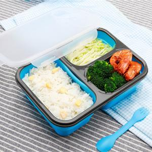 China Rectangle 460g 3 Compartments Silicone Folding Lunch Box on sale