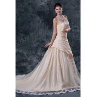 Young Girls Ruffle Taffeta Bridal A Line Wedding Dress with Applique , Champagne