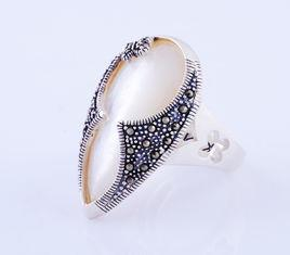 China Top quality 925 Thai Silver Marcasite Ring Jewelry with Manmade Gemstone Shell on sale