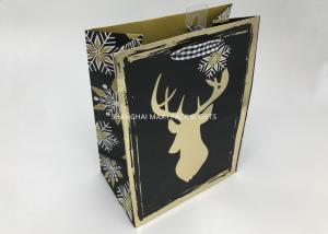 China Small / Large Xmas Gift Bags , Paper Christmas Goodie Bags Full Gold Hot Stamping Printed on sale