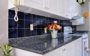 China Nature Stone Norway Blue Pearl Granite Countertop , Prefabricated Granite Countertops on sale