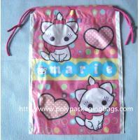 China Waterproof Plastic Drawstring Bag , Drawstring Plastic Bag For Wet Towel / Sanitary Towel on sale