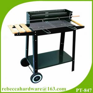 China Trolly charcoal bbq grill, wood pellet cooking stove, barbecue cart on sale