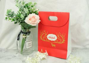 China Merry Christmas Eco Craft Bags With Logo And Cutting Handle Smooth Feel on sale