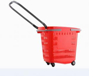 China Plastic Red Shopping Basket With Wheels Trolley Grocery Store Carts 50L on sale