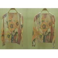 2014 Fancy Womens Fine Knit Sweaters V Neck Sunflower Printed Cardigan