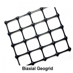 China Black Soil Grid Pp Biaxial Geogrid / 40kn Geogrid For Road Construction supplier