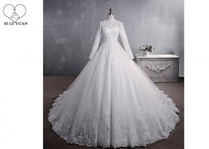 China Pure White High Collar Beading Long Tail Bridal Gown / Long Sleeve Bridal Dresses on sale
