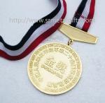 A medalha chapeada ouro com fita, ouro concede medalhas e medalhões, medalhas de ouro da fita,