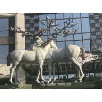China Cute Fiberglass Modern Outdoor Sculpture Beautiful Animal Deer Shape As Hotel Decoration on sale