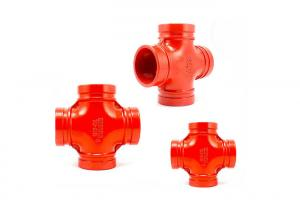 China Fireproof Ductile Iron Grooved Pipe Fittings 3 Inch Ductile Iron Pipe Cross on sale